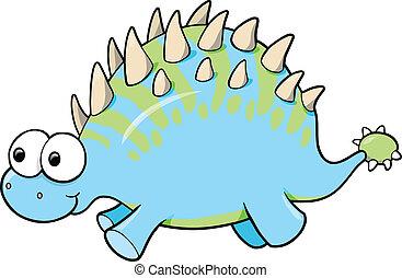dinoszaurusz, hülye, vektor, állat, furcsa