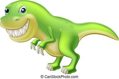 dinoszaurusz, rex, t, karikatúra