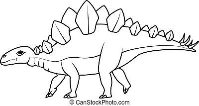 dinozaur, book:, kolorowanie, stegozaur