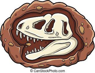 dinozaur, głowa, rysunek, skamieniałość