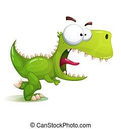 dinozaur, pomylony, zabawny, sprytny, illustration.