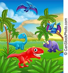 dinozaur, prehistoryczny, rysunek, krajobraz, scena