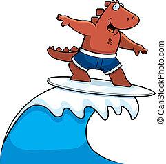 dinozaur, surfing