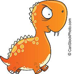 dinozaur, szalony, wektor, pomylony