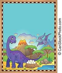 dinozaur, temat, 2, pergamin