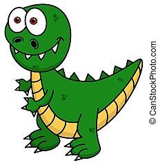 dinozaur, uśmiechanie się, zielony