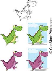Dinozaury, komplet, Litery, zbiór
