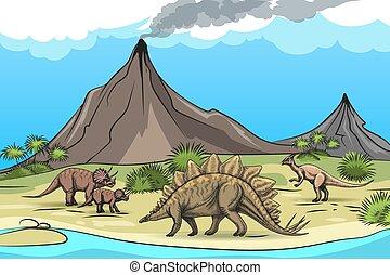 dinozaury, prehistoria, wulkan