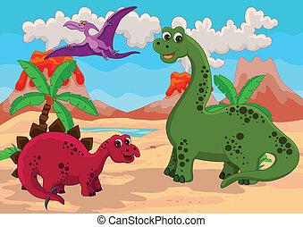 dinozaury, rodzina, tło
