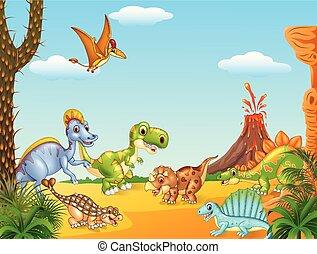dinozaury, szczęśliwy, rysunek, wulkan