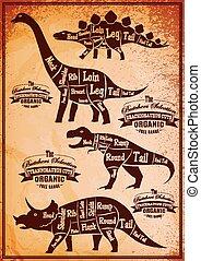 dinozaury, układ, cięcie, zbiór, ich
