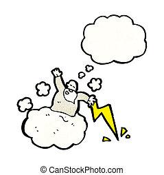 dio, cartone animato, nuvola