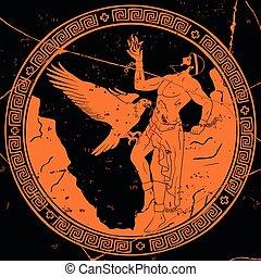 dio, greco, prometheus., antico