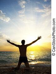 dio, preghiera, adorare, persona