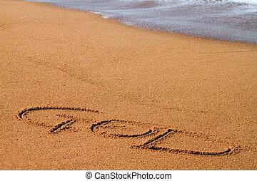 dio, scritto, spiaggia