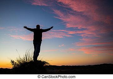 dio, tramonto, adorare