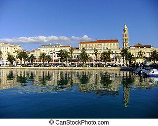 diocletian's, front mer, palais, croatie, fente
