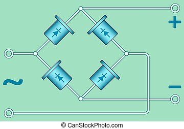 Diode bridge - illustration of the diode bridge diagram
