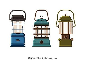 Diode Lantern Set - Vintage diode lantern set isolated on...