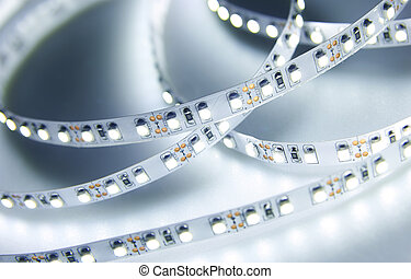 Diode strip. Led lights tape close-up