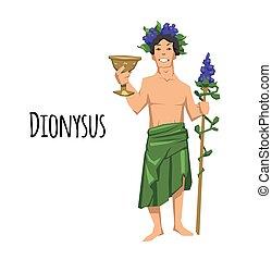 Dionysus, acient Greek god of wine. Mythology. Flat vector illustration. Isolated on white background.