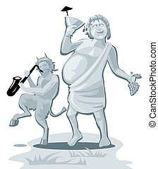 Dionysus and satyr. Greek god isolated on white background. Vector flat gray illustration