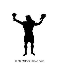 Dionysus Bacchus god wine silhouette ancient mythology fantasy