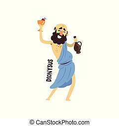 Dionysus Olympian Greek God, ancient Greece mythology character vector Illustration on a white background
