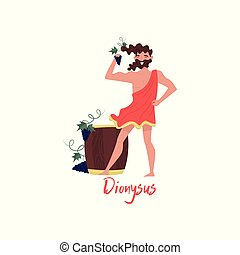 Dionysus Olympian Greek God, ancient Greece myths cartoon character vector Illustration on a white background