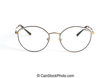 diopters, isolé, mince, fond, populaire, élégant, blanc, arrondissez lunettes