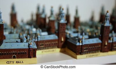 Diorama of medieval town, closeup view with focus change