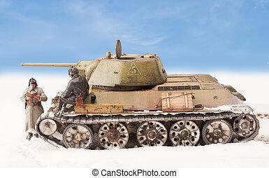 Diorama with old soviet t 34 tank - Legendary Soviet tank...