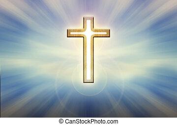 dios, canal ligero, crucifijo, forma, en, brillo, brillar, fondo azul, creer, esperanza, y, dios, plano de fondo