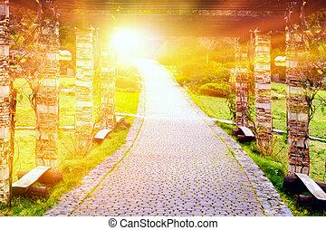 dios, cielo, arriba, pasos, manera, luz, sol, primero