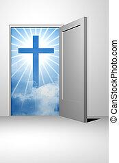 dios, cielo, entrada