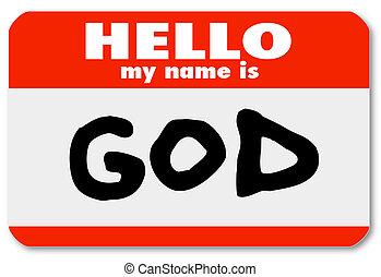 dios, nametag, introducción, bienvenida, a, religioso, fe
