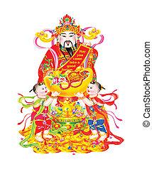 dios, nuevo, riqueza, chino, año