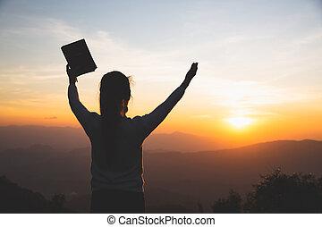 dios, rezando, religión, mañana, spirtuality, religioso,...