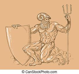 dios romano, neptuno, o, poseidon, con, tridente, y,...