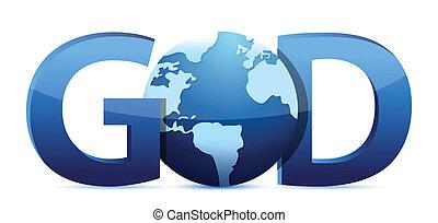 dios, texto, y, globo