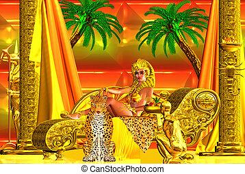 diosa, egipcio, acostado, abajo.