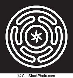 diosa, emblema, hecates, griego, antiguo, rueda