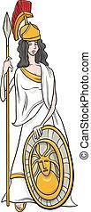 diosa griega, caricatura, athena