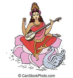 diosa hindú, saraswati.