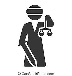 diosa, justicia, femida, fondo., vector, blanco, dama, icono