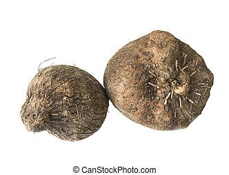 Dioscorea alata or yam on white background