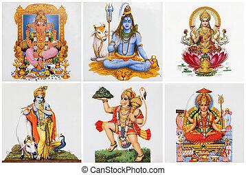 dioses, azulejos de cerámica, cartel, hindú