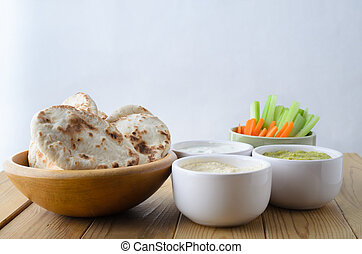 Dip Selection Bowls with Crudites and Mini Pittas - A...