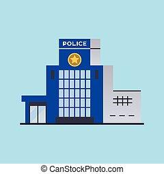 dipartimento, città, stazione, polizia, costruzione.