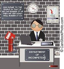 dipartimento, incompetenza, comico